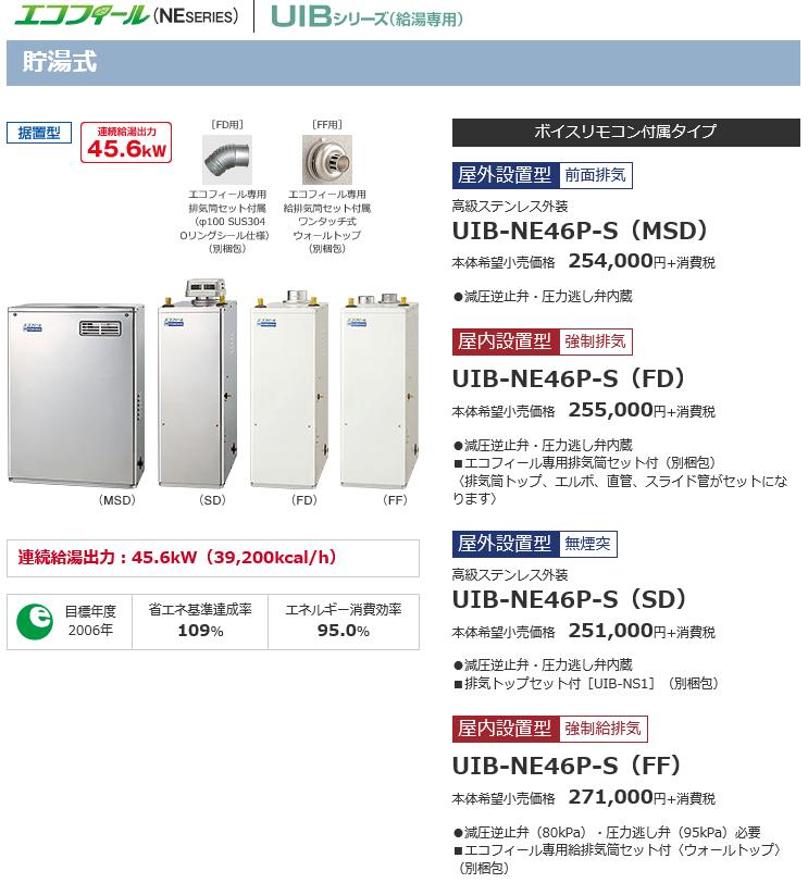 給湯器UIB-NE46P-Sの価格