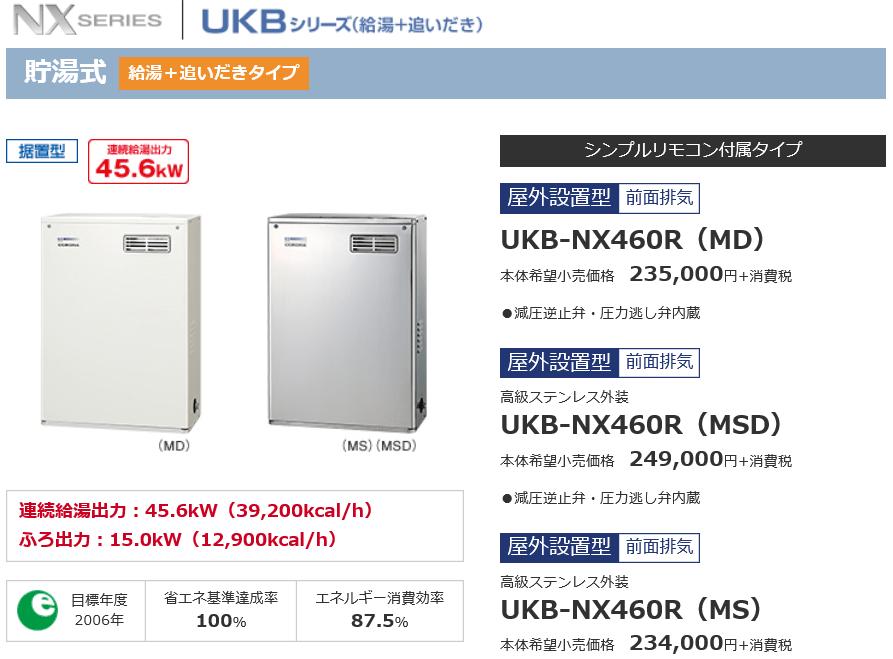 給湯器の費用UKB-NX460Rの交換